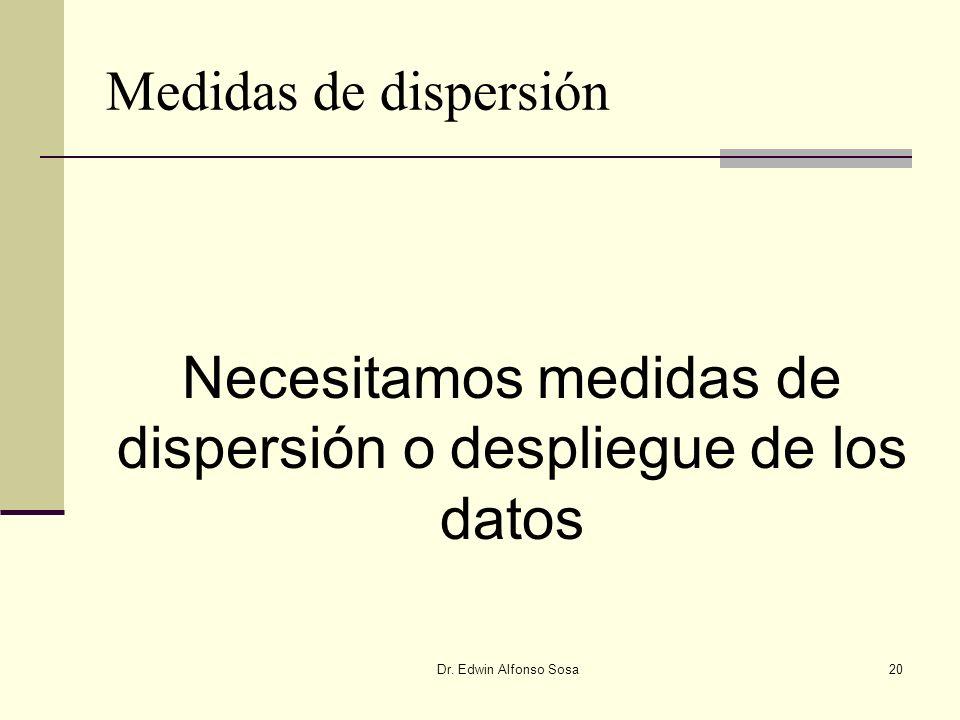 Necesitamos medidas de dispersión o despliegue de los datos
