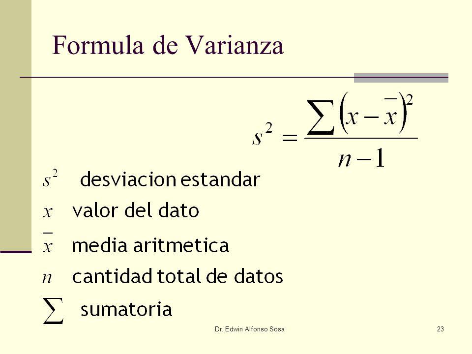Formula de Varianza Dr. Edwin Alfonso Sosa