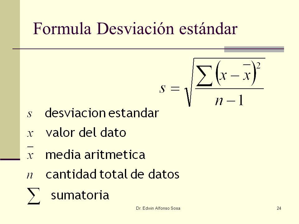 Formula Desviación estándar