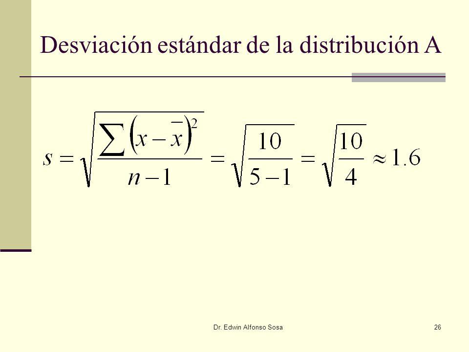 Desviación estándar de la distribución A