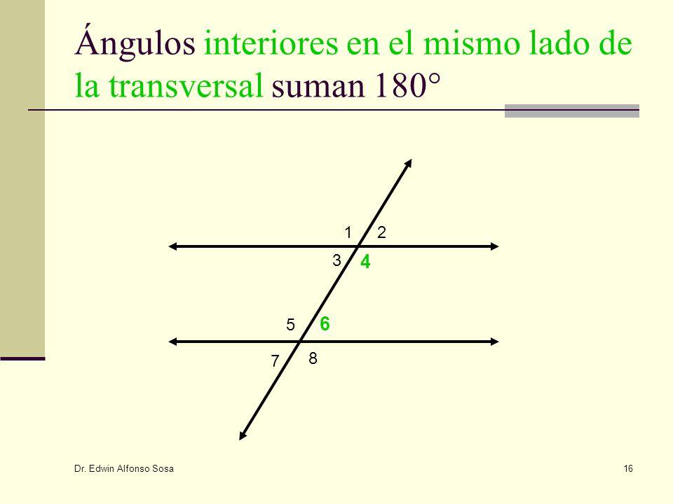 Ángulos interiores en el mismo lado de la transversal suman 180°