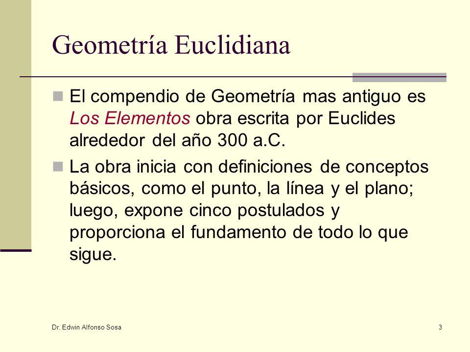 Geometría Euclidiana El compendio de Geometría mas antiguo es Los Elementos obra escrita por Euclides alrededor del año 300 a.C.