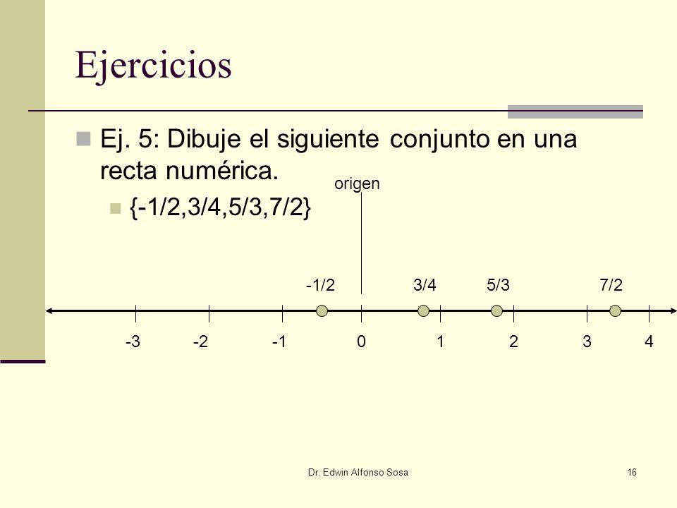 Ejercicios Ej. 5: Dibuje el siguiente conjunto en una recta numérica.