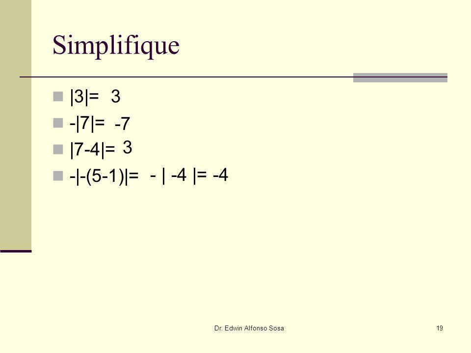 Simplifique |3|= -|7|= |7-4|= -|-(5-1)|= 3 -7 3 - | -4 |= -4