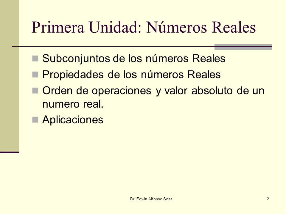 Primera Unidad: Números Reales
