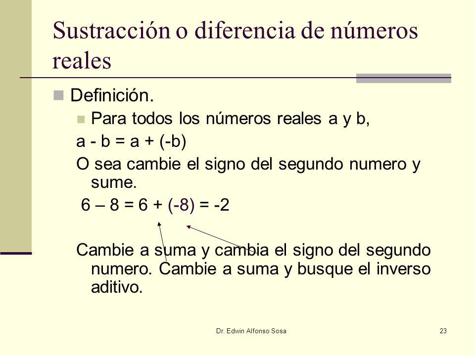 Sustracción o diferencia de números reales