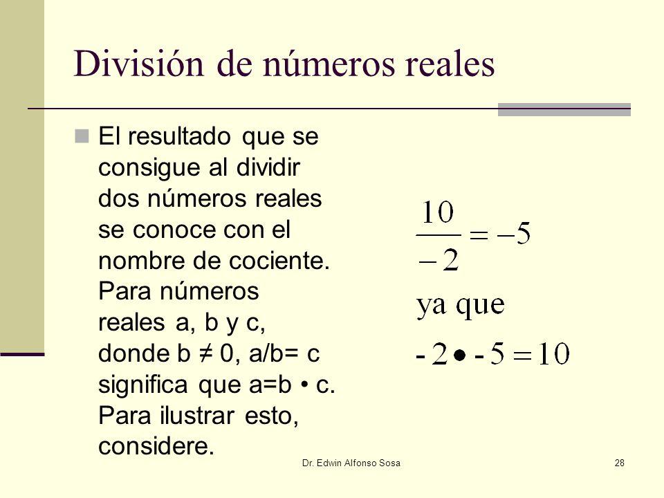 División de números reales
