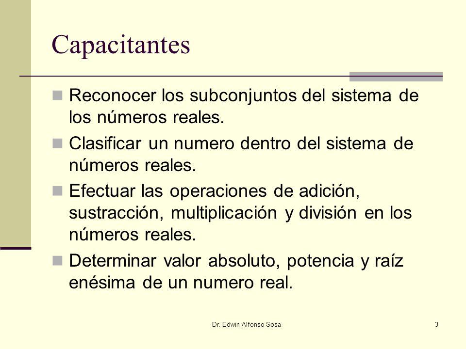 Capacitantes Reconocer los subconjuntos del sistema de los números reales. Clasificar un numero dentro del sistema de números reales.