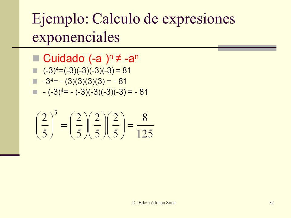 Ejemplo: Calculo de expresiones exponenciales