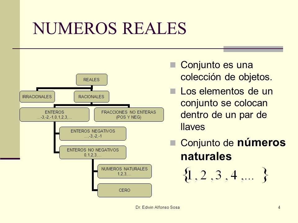 NUMEROS REALES Conjunto es una colección de objetos.