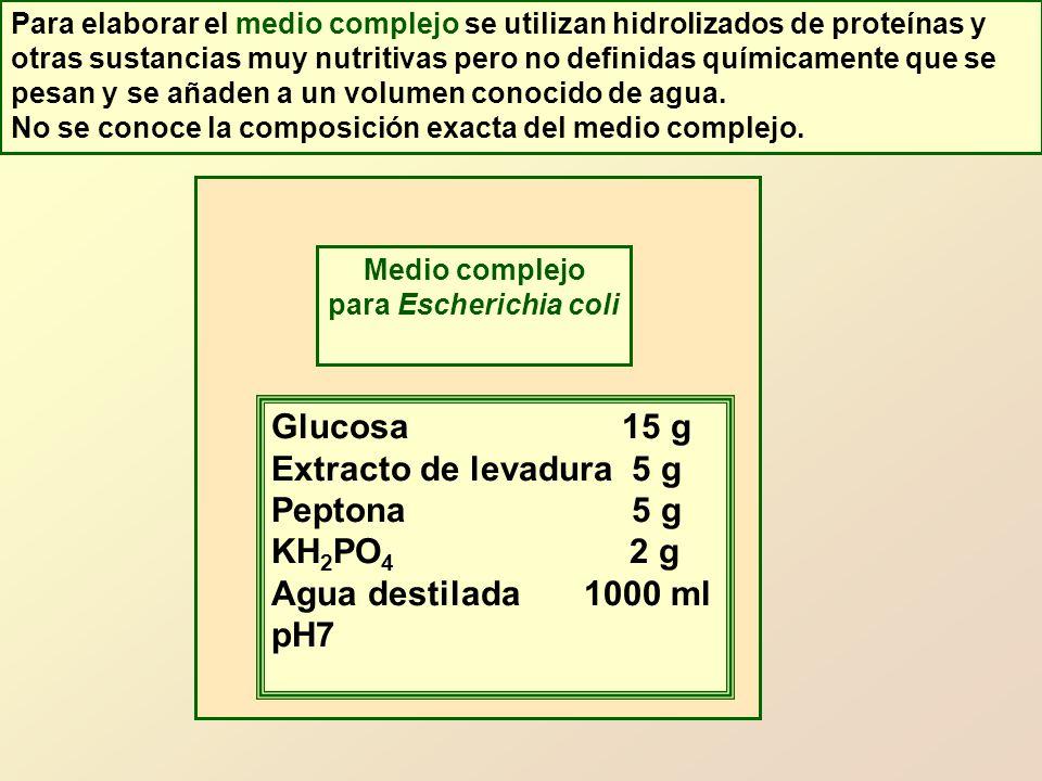 Glucosa 15 g Extracto de levadura 5 g Peptona 5 g KH2PO4 2 g
