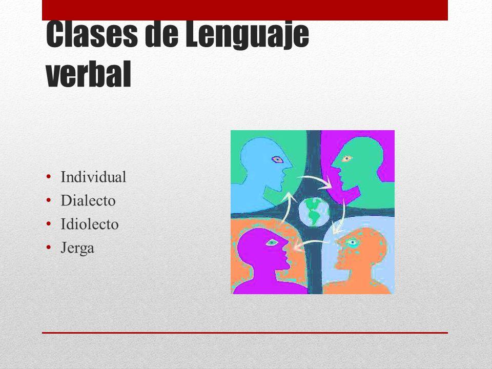 Clases de Lenguaje verbal