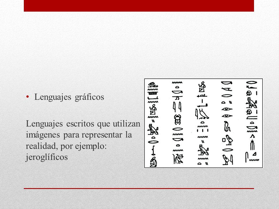 Lenguajes gráficos Lenguajes escritos que utilizan imágenes para representar la realidad, por ejemplo: jeroglíficos.