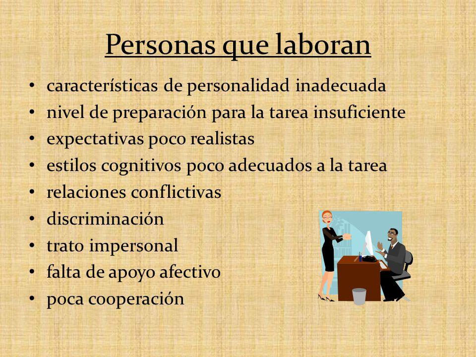 Personas que laboran características de personalidad inadecuada