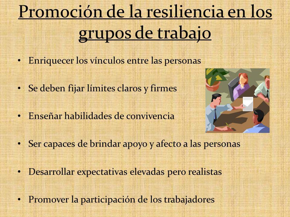 Promoción de la resiliencia en los grupos de trabajo