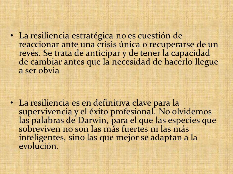 La resiliencia estratégica no es cuestión de reaccionar ante una crisis única o recuperarse de un revés. Se trata de anticipar y de tener la capacidad de cambiar antes que la necesidad de hacerlo llegue a ser obvia
