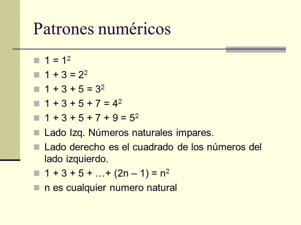 Patrones numéricos 1 = 12 1 + 3 = 22 1 + 3 + 5 = 32 1 + 3 + 5 + 7 = 42