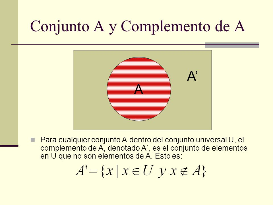 Conjunto A y Complemento de A