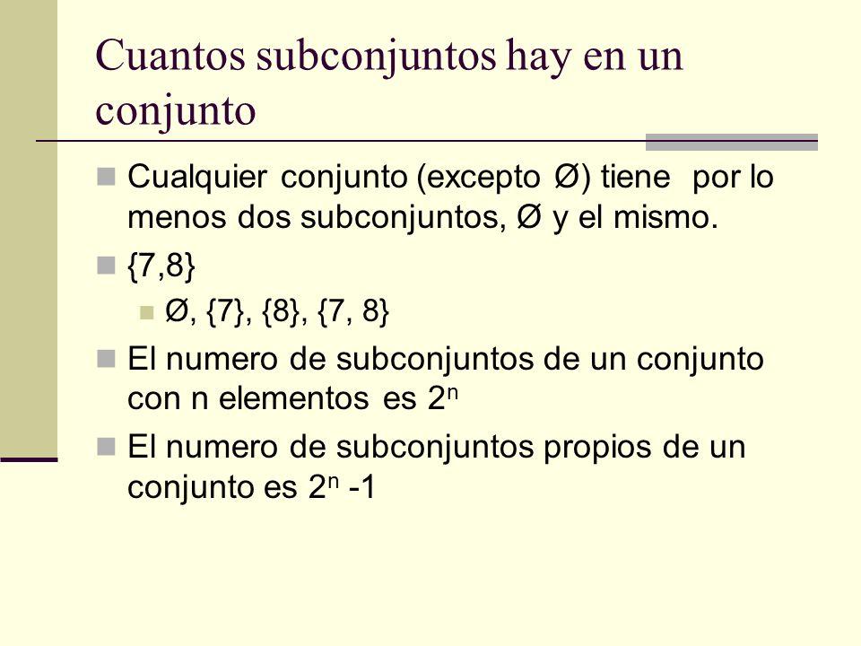 Cuantos subconjuntos hay en un conjunto