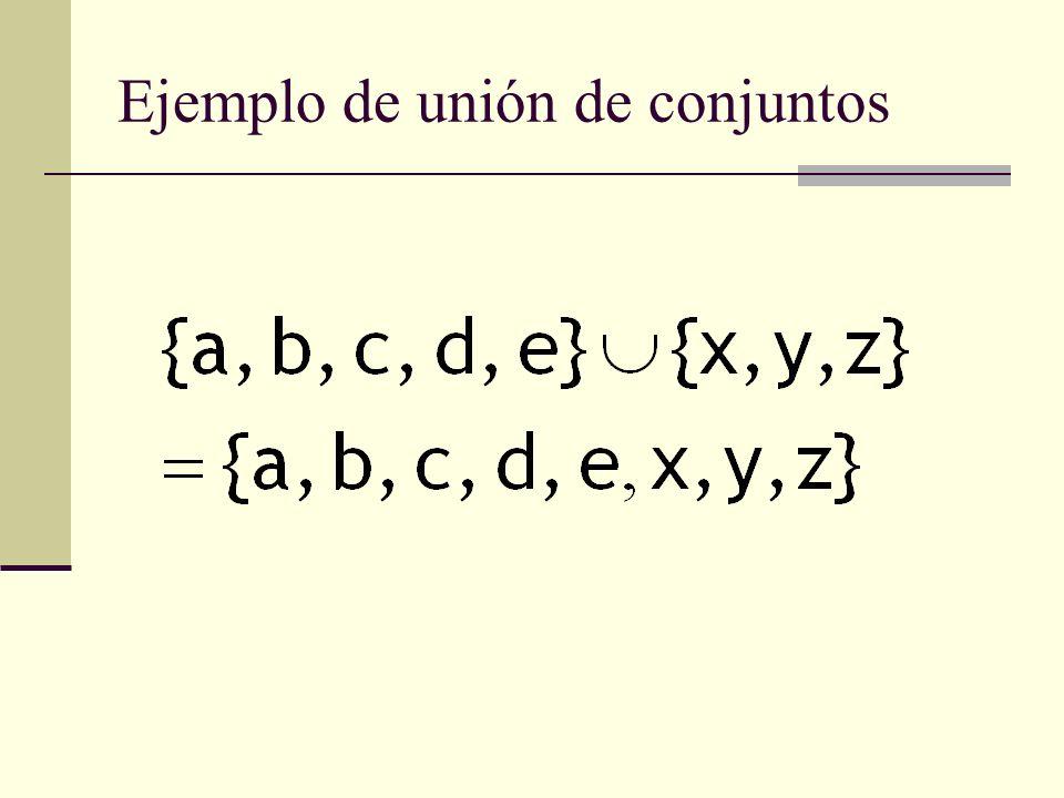 Ejemplo de unión de conjuntos