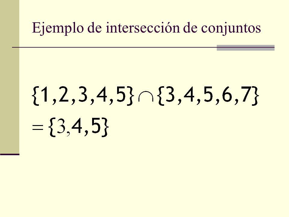Ejemplo de intersección de conjuntos