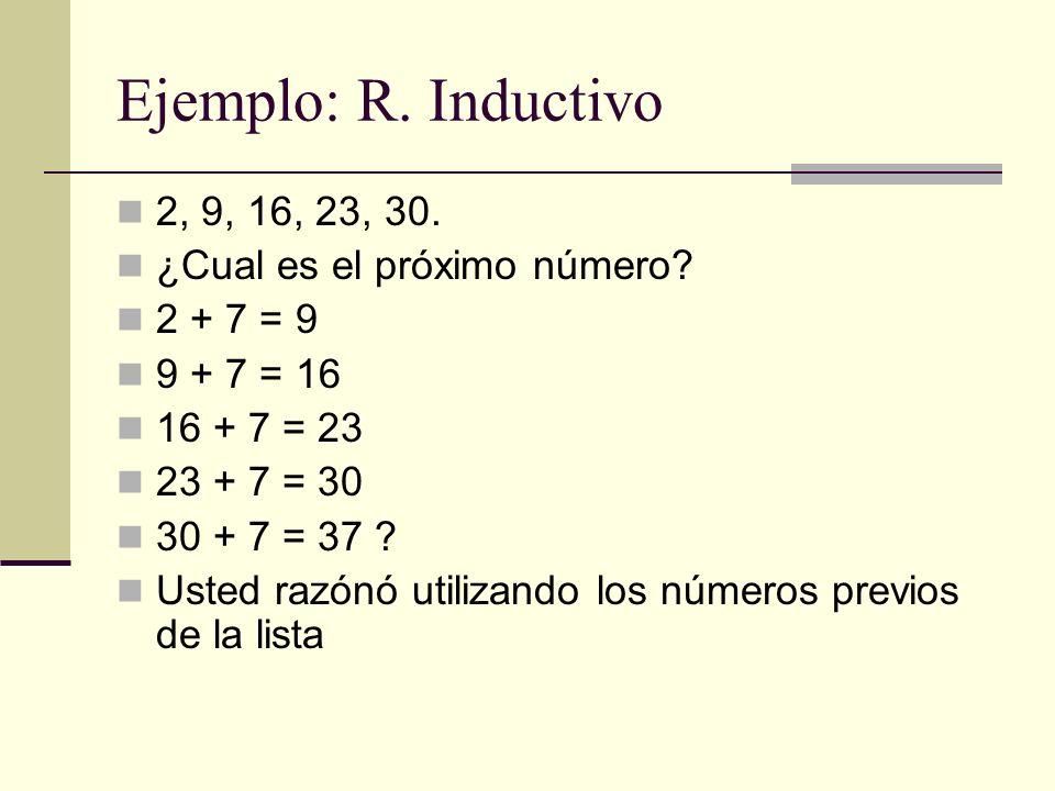 Ejemplo: R. Inductivo 2, 9, 16, 23, 30. ¿Cual es el próximo número