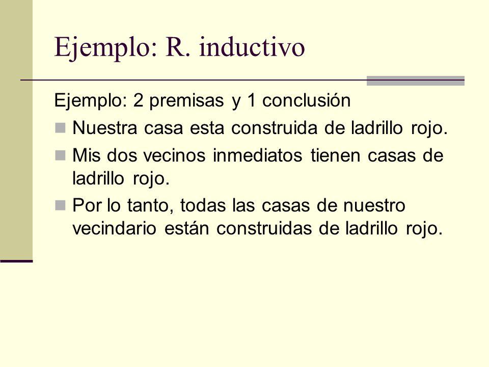 Ejemplo: R. inductivo Ejemplo: 2 premisas y 1 conclusión
