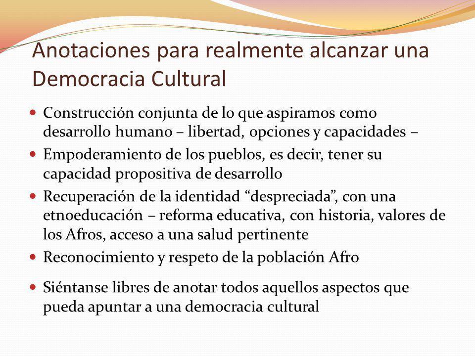 Anotaciones para realmente alcanzar una Democracia Cultural