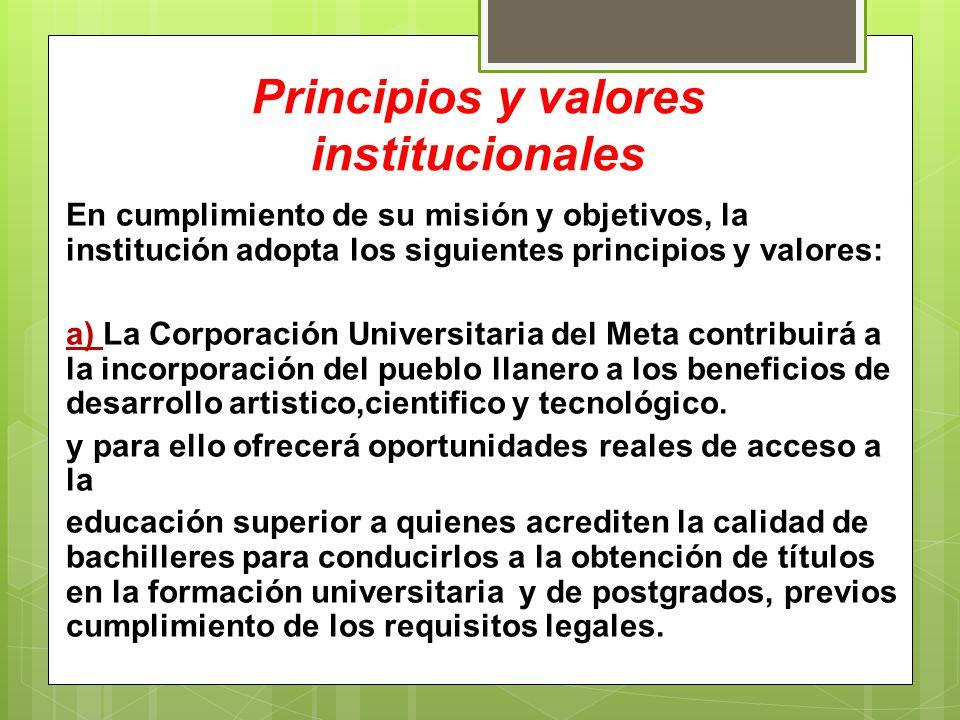 Principios y valores institucionales