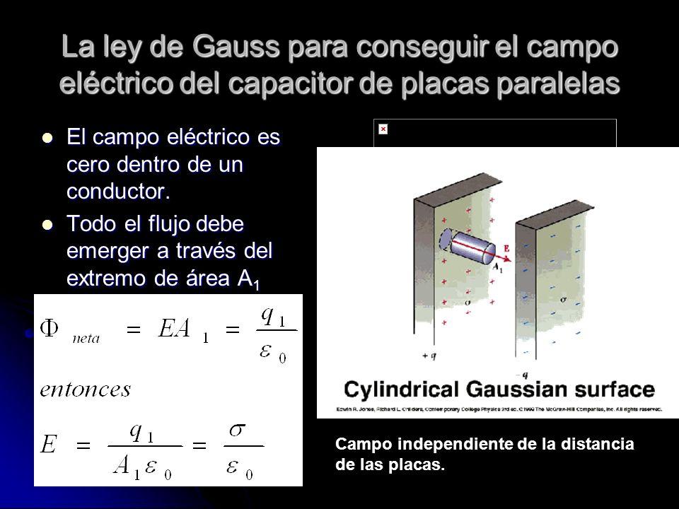La ley de Gauss para conseguir el campo eléctrico del capacitor de placas paralelas