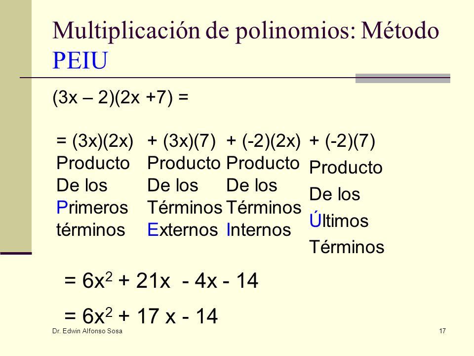 Multiplicación de polinomios: Método PEIU