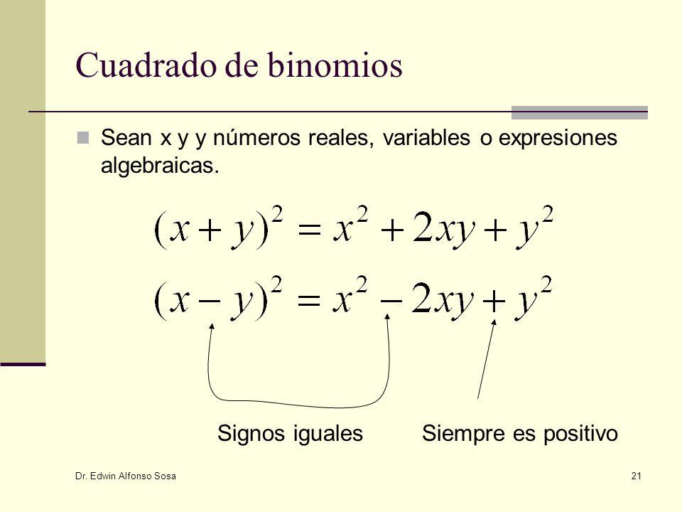 Cuadrado de binomios Sean x y y números reales, variables o expresiones algebraicas. Signos iguales.