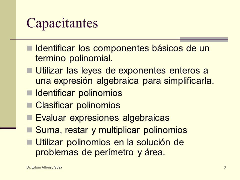 Capacitantes Identificar los componentes básicos de un termino polinomial.