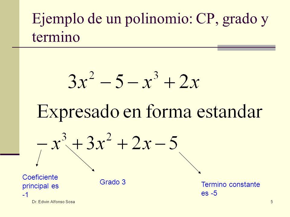 Ejemplo de un polinomio: CP, grado y termino
