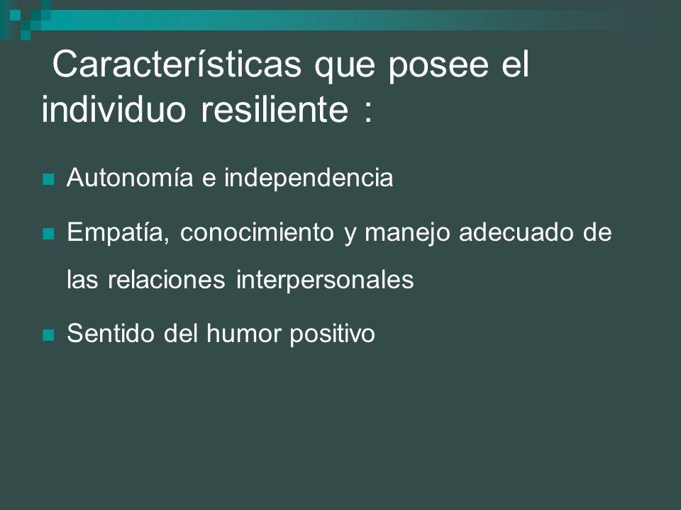 Características que posee el individuo resiliente :