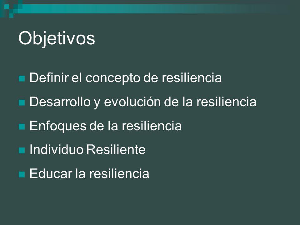 Objetivos Definir el concepto de resiliencia
