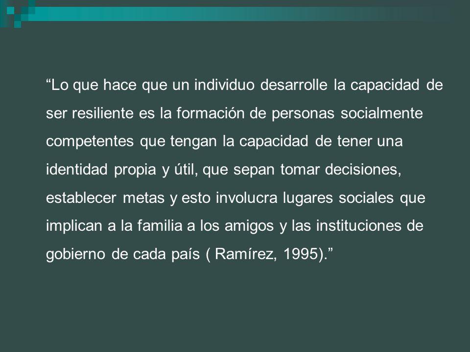 Lo que hace que un individuo desarrolle la capacidad de ser resiliente es la formación de personas socialmente competentes que tengan la capacidad de tener una identidad propia y útil, que sepan tomar decisiones, establecer metas y esto involucra lugares sociales que implican a la familia a los amigos y las instituciones de gobierno de cada país ( Ramírez, 1995).