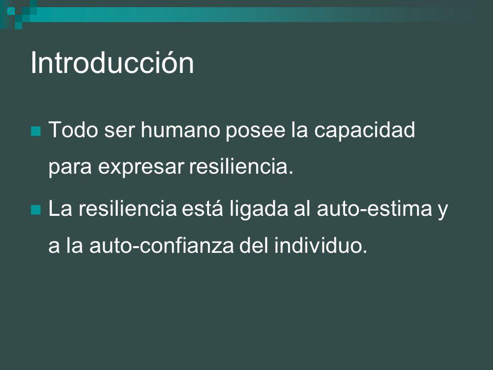 Introducción Todo ser humano posee la capacidad para expresar resiliencia.