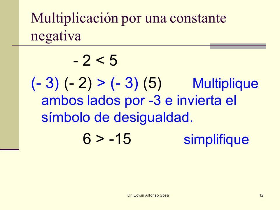 Multiplicación por una constante negativa