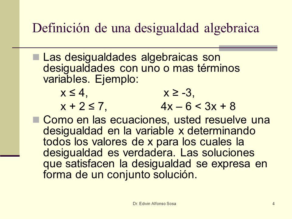 Definición de una desigualdad algebraica