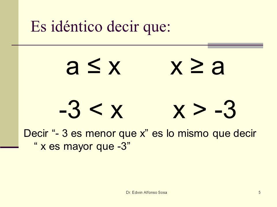 a ≤ x x ≥ a -3 < x x > -3 Es idéntico decir que: