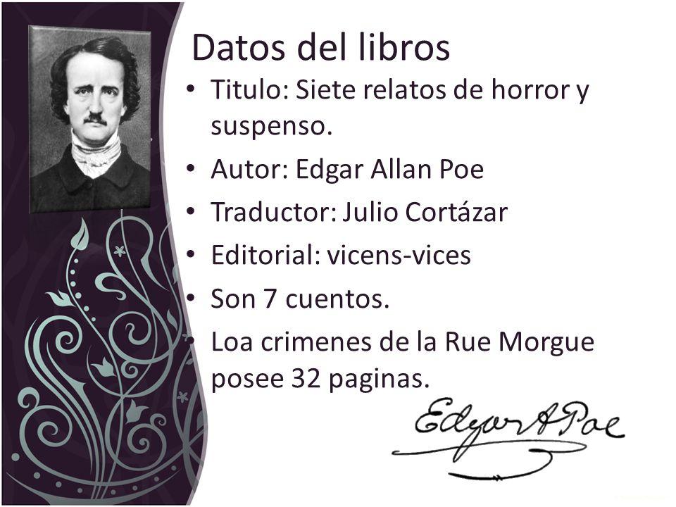 Datos del libros Titulo: Siete relatos de horror y suspenso.