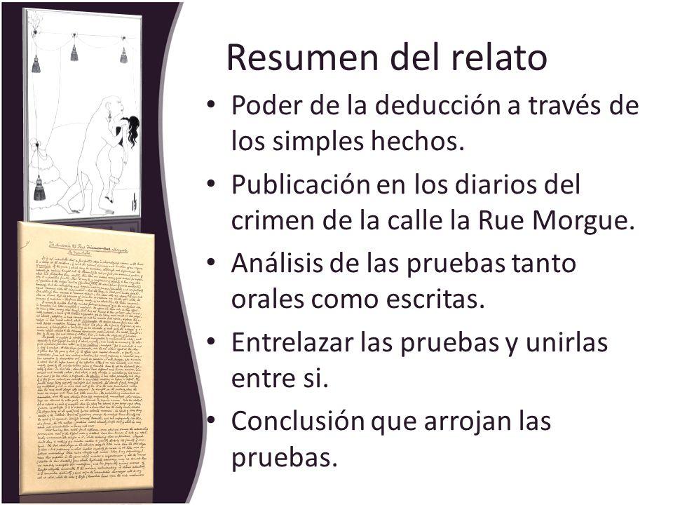 Resumen del relato Poder de la deducción a través de los simples hechos. Publicación en los diarios del crimen de la calle la Rue Morgue.