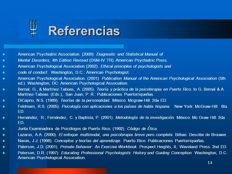 Referencias American Psychiatric Association. (2000). Diagnostic and Statistical Manual of.