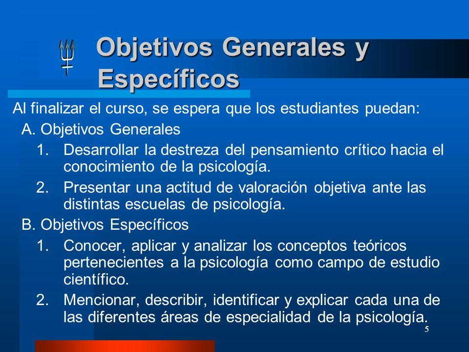 Objetivos Generales y Específicos