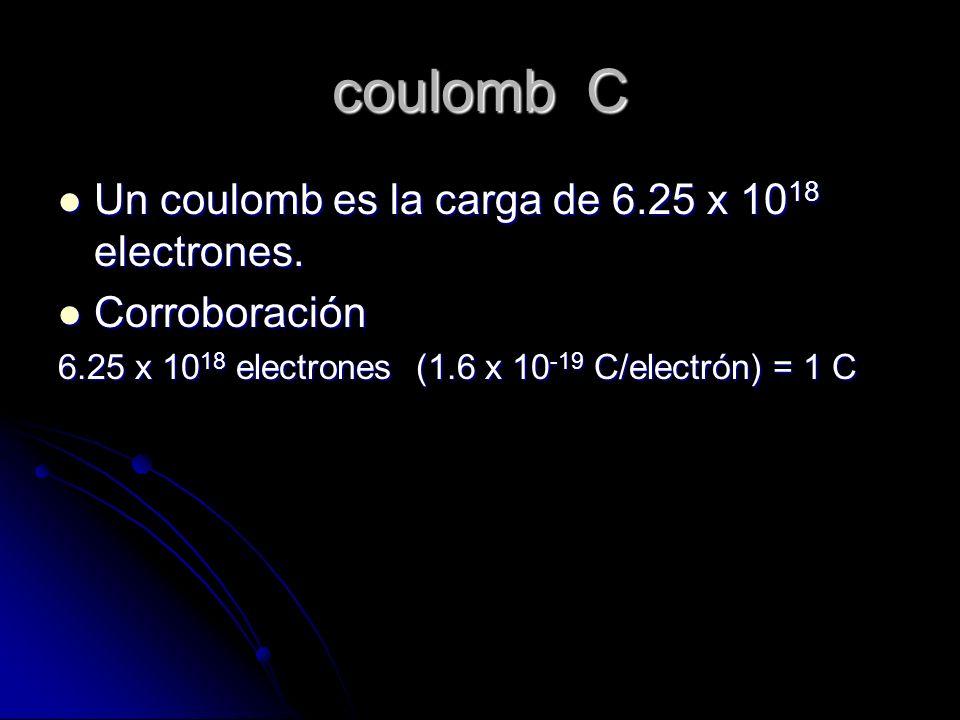 coulomb C Un coulomb es la carga de 6.25 x 1018 electrones.