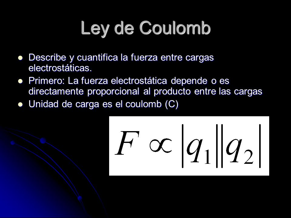 Ley de Coulomb Describe y cuantifica la fuerza entre cargas electrostáticas.
