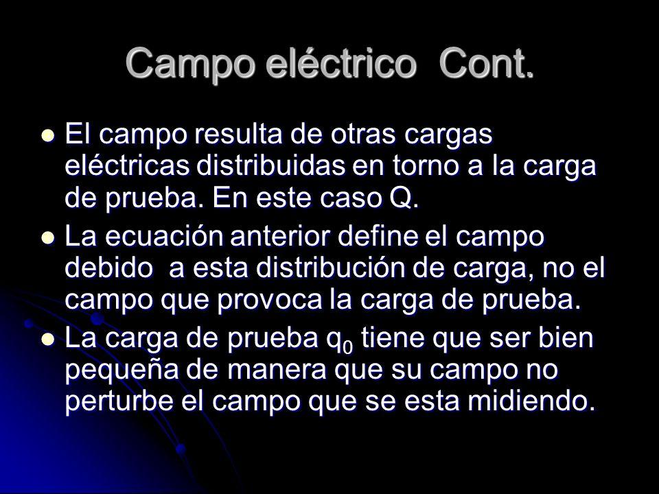 Campo eléctrico Cont. El campo resulta de otras cargas eléctricas distribuidas en torno a la carga de prueba. En este caso Q.