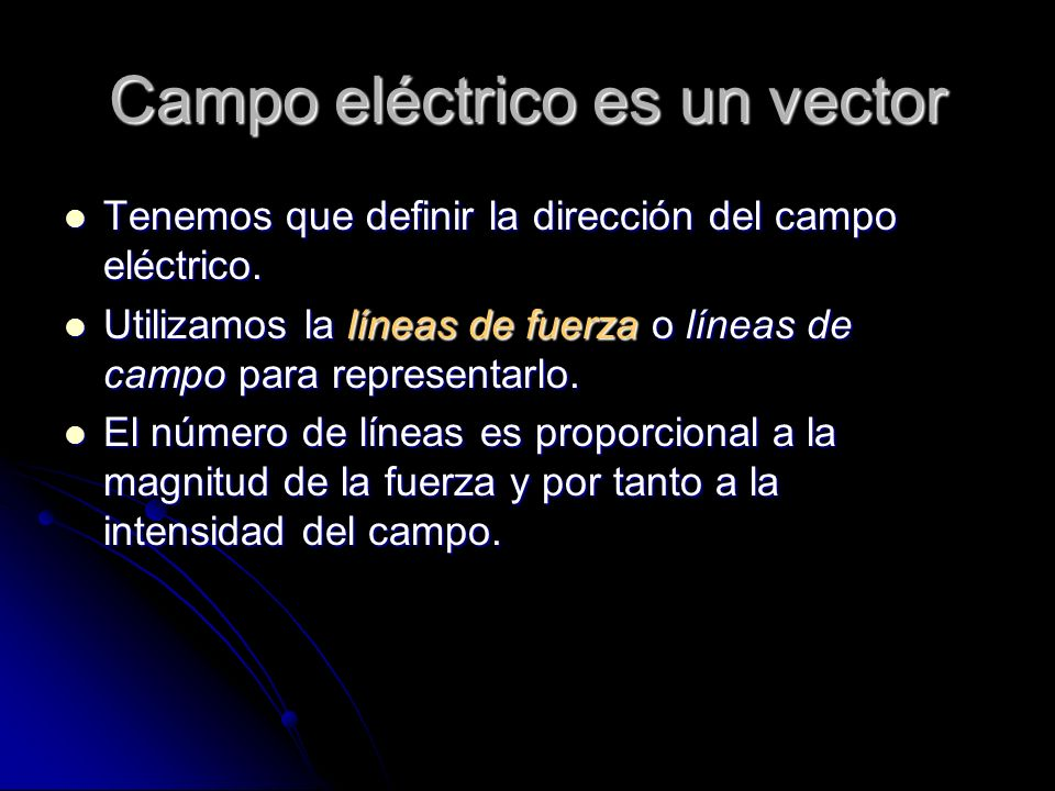 Campo eléctrico es un vector