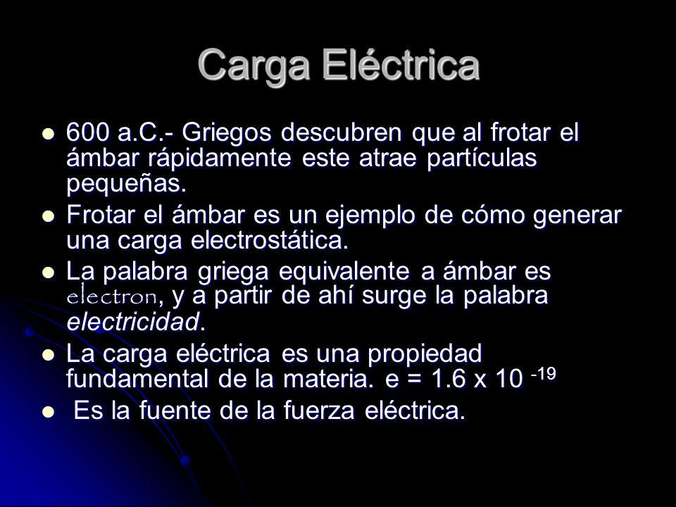 Carga Eléctrica 600 a.C.- Griegos descubren que al frotar el ámbar rápidamente este atrae partículas pequeñas.